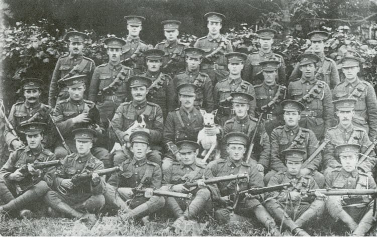 Example of a troop photograph from August 1914 at the outbreak of the First World War