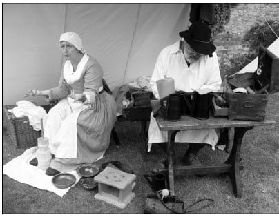 Civil War re-enactors in camp at Wallingford