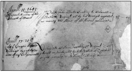 Scrap of parchment recording the pay sent to the regiments besieging Reading in April 1643 (The National Archive))