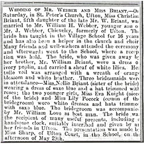 Wedding notice from the Reading Mercury 13 Jun 1914