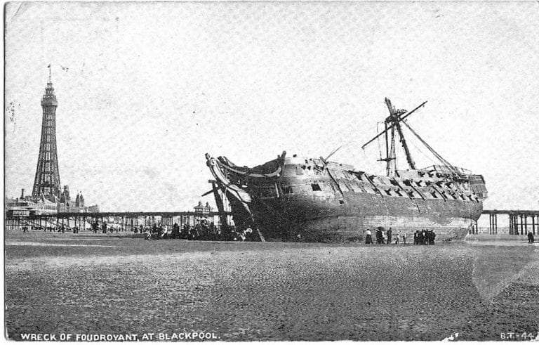 Foudroyant wrecked at Blackpool (copyright Blackpool Gazette)