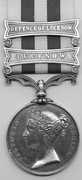 Indian Mutiny Medal with two Lucknow clasps (CA BT-SA 4.0)