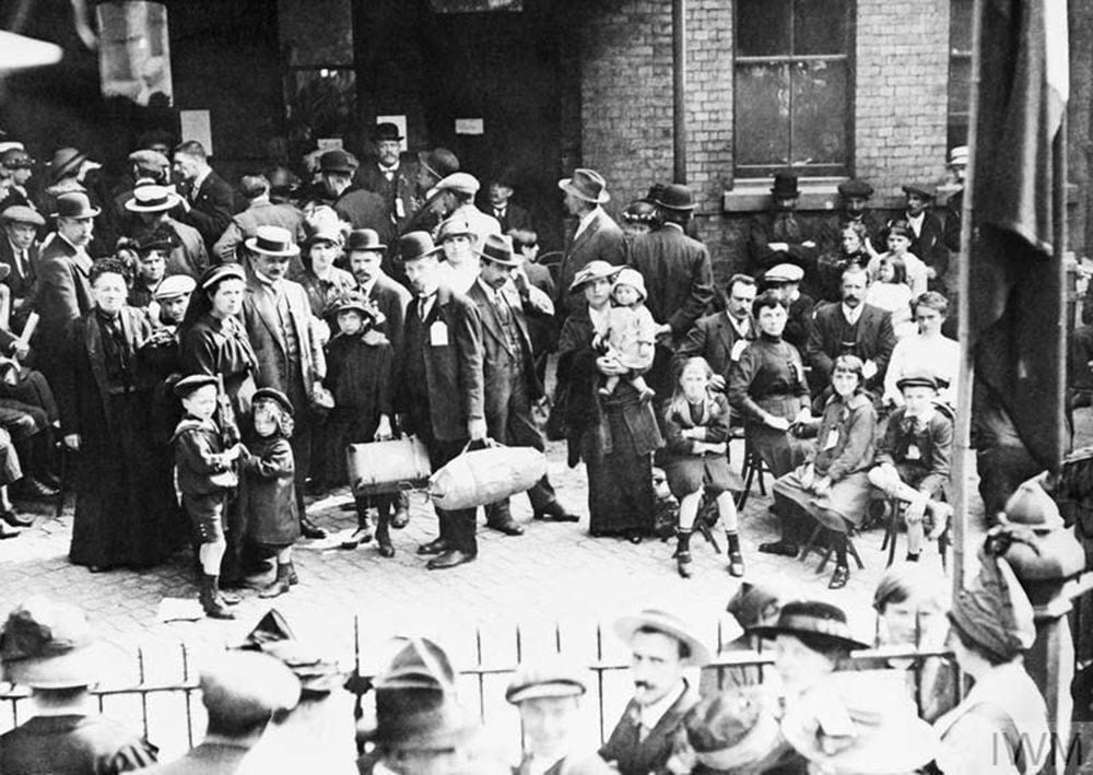 Families of Belgian refugees in London, Sept 1914  Imperial War Museum (Q53305)