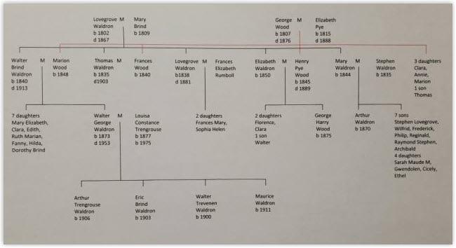 Bowley Waldron family tree