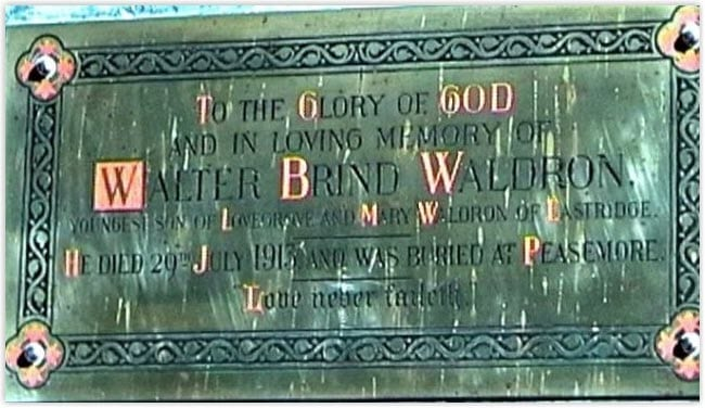 Memorial Plaque to Walter Brind Walter and his brother, Thomas