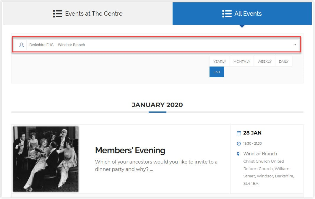 Improvements to the Events Listings