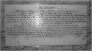 Kintbury Church memorial to Sir Jemmett Raymond contains a mass of genealogical information