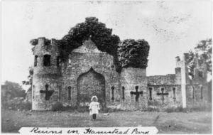 Sham Castle, a folly built in Hamstead Park in the 1790s, removed during WWI